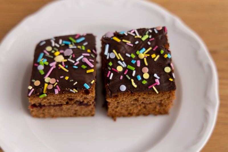 Gingerbread cake and sprinkles