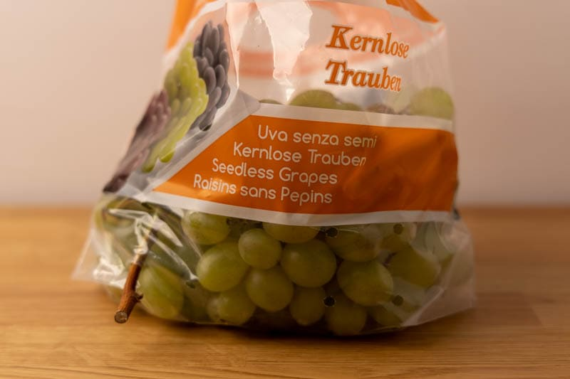 Grapes in a ventilated bag