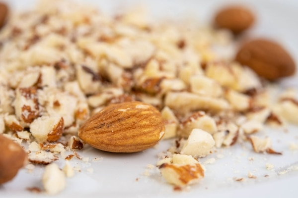 Grated almonds on a plate