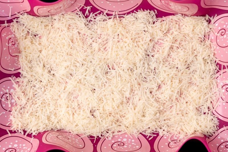 Grated parmesan before freezing