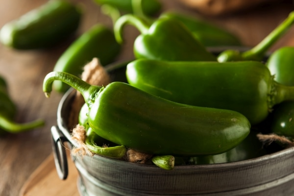 Green Jalapeno Peppers in a Bowl