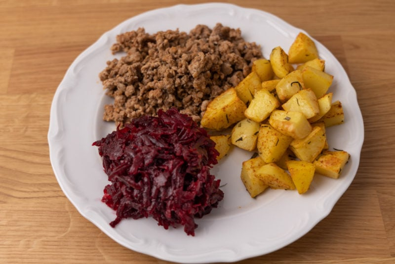 Ground pork, potatoes with rosemary, and beets