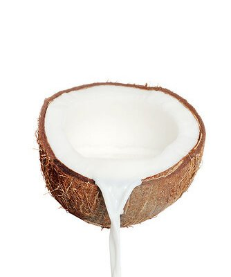 Beautiful halved coconut