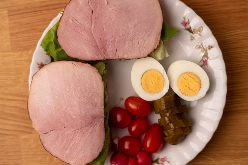 Ham slices on bread