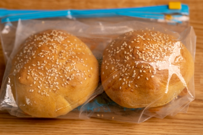 Hamburger buns packed for freezing
