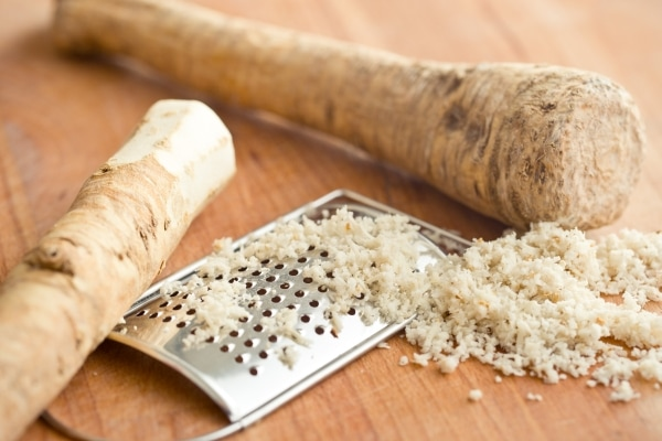 Horseradish root and a small grater