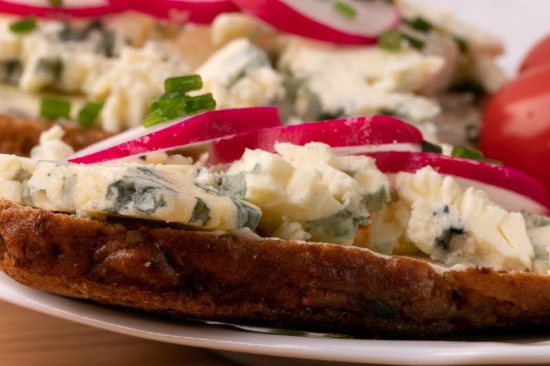 Thawed blue cheese closeup
