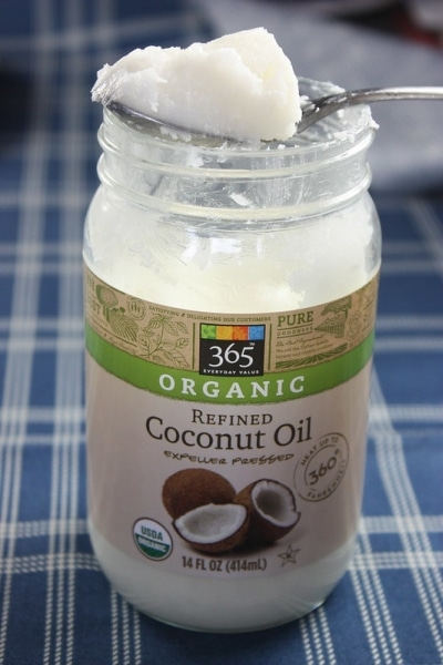 Jar of refined coconut oil