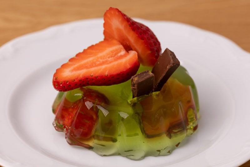 Jello dessert with fresh strawberry