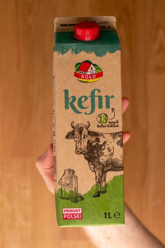 Kefir carton in hand