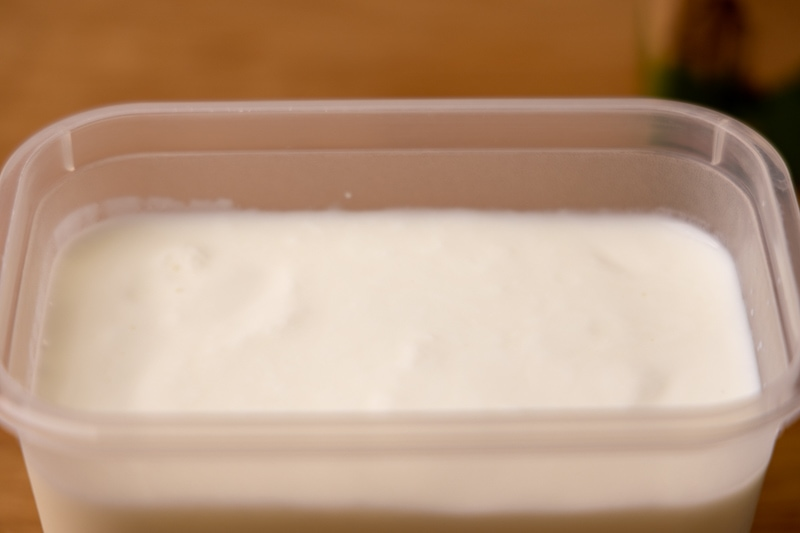 Kefir in a container
