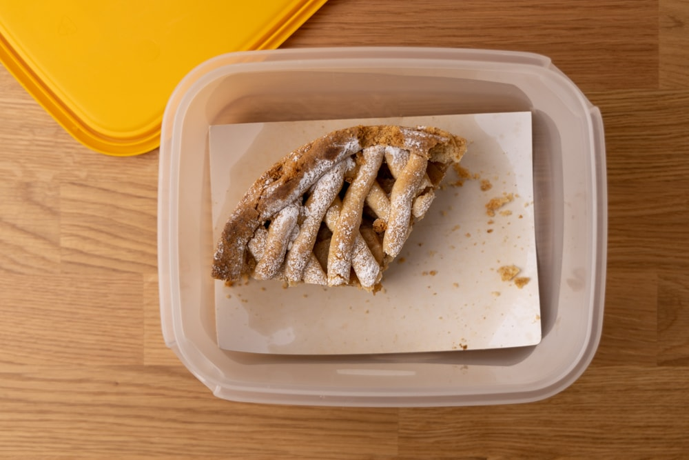 Leftover apple pie in an airtight container