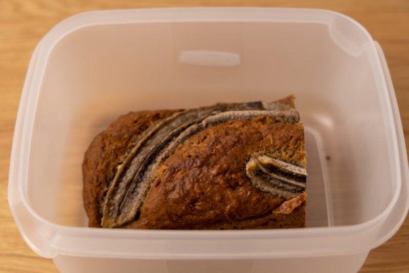 Leftover banana bread in an airtight container