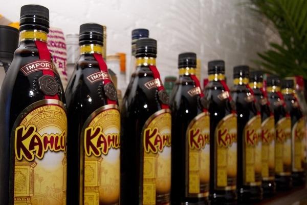 Line of Kahlua bottles