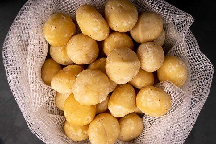 Macadamia nuts in mesh bag