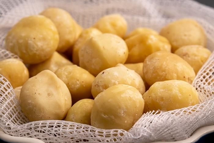 Macadamia nuts side closeup