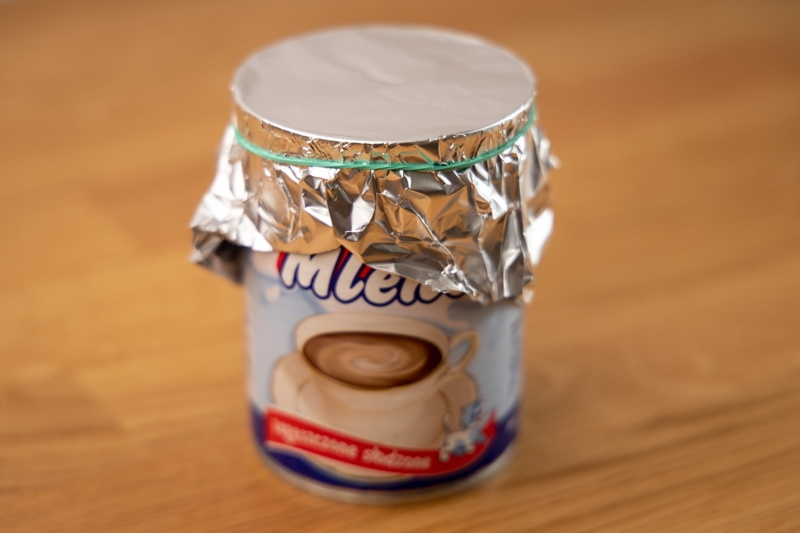 Makeshift condensed milk seal