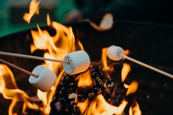 Marshmallows on fire pit