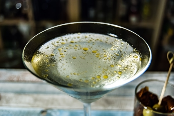 Martini garnished with olive oil