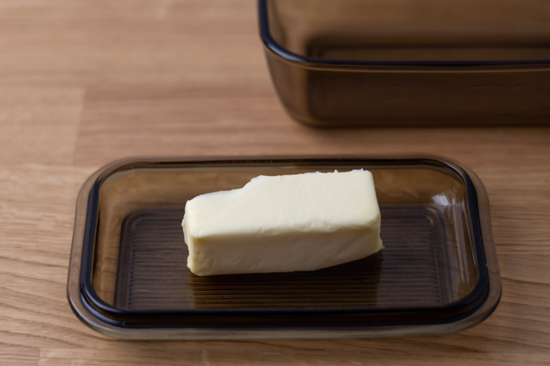 Knob of butter in a butter dish