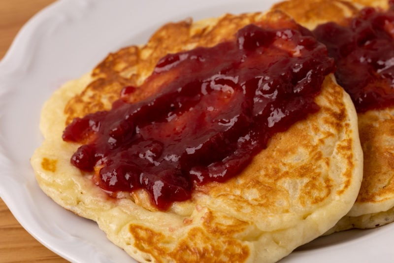 Pancakes and raspberry jam