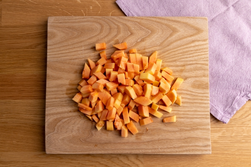 Cubed papaya