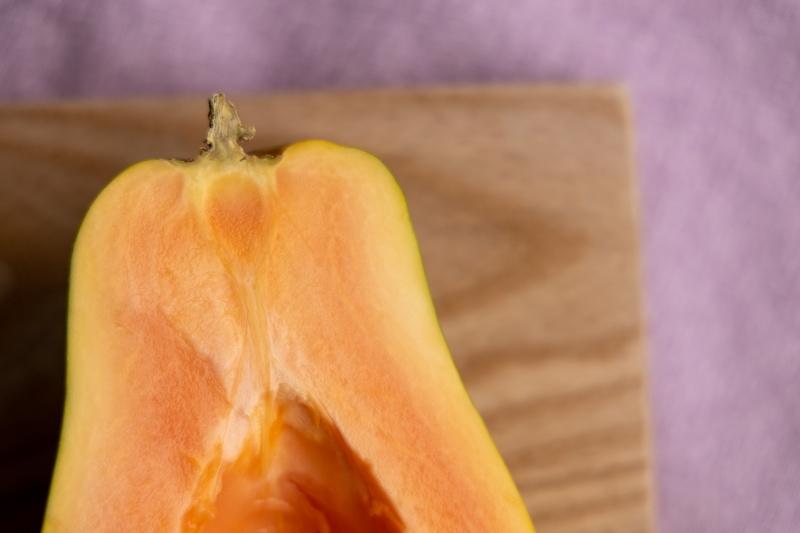 Papaya rind closeup