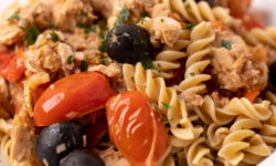 Pasta salad with olives and cherry tomatoes