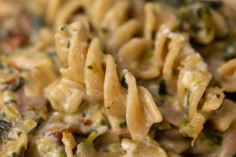 Pasta with spinach and feta