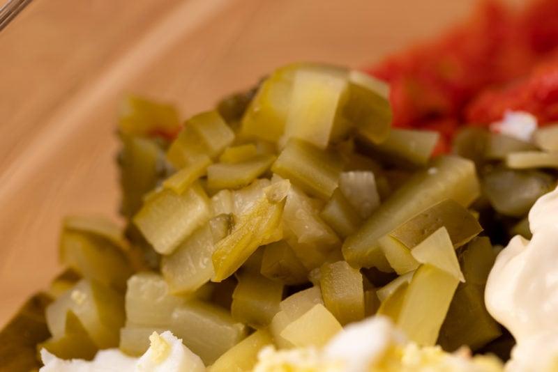 Pickles in tuna salad