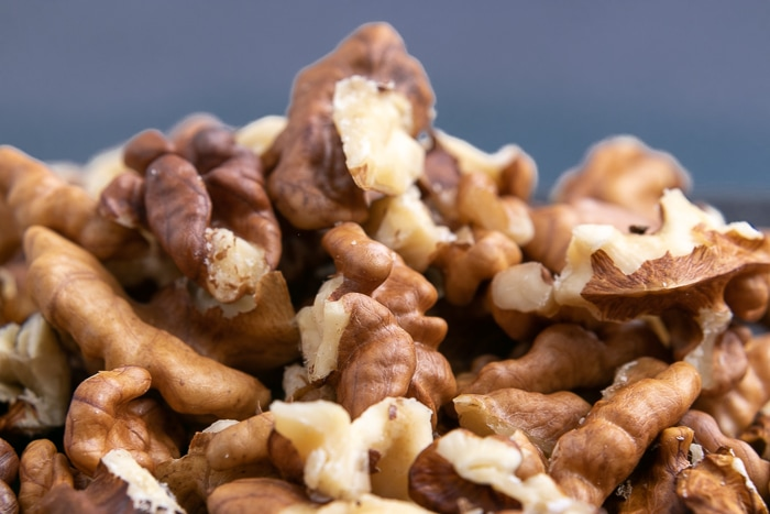 A pile of shelled walnuts