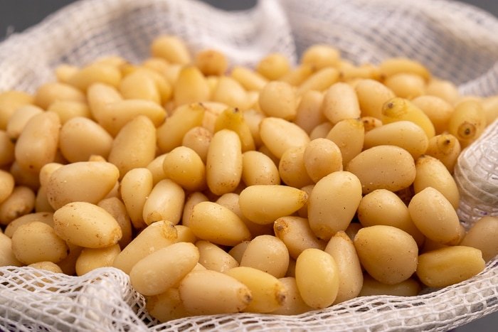 Pine nuts in a mesh bag