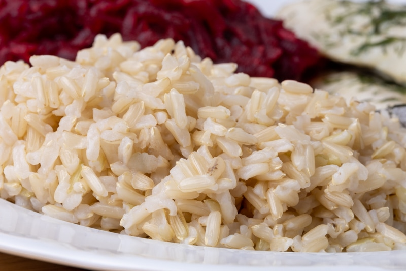 Plate with brown rice