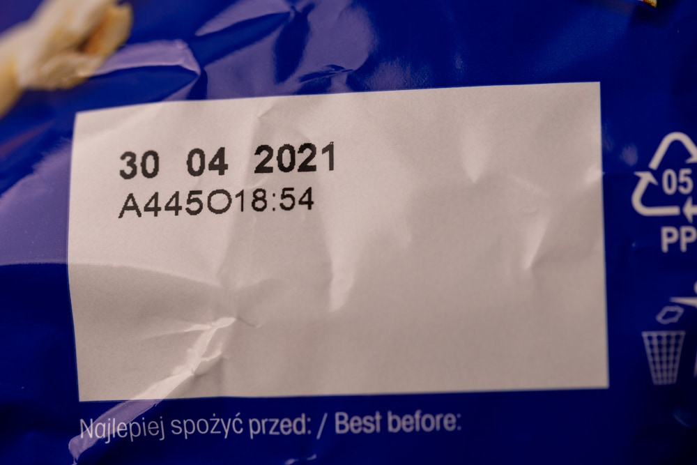 Popcorn package date on label