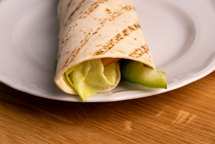 Tortilla roll-up ready for eating