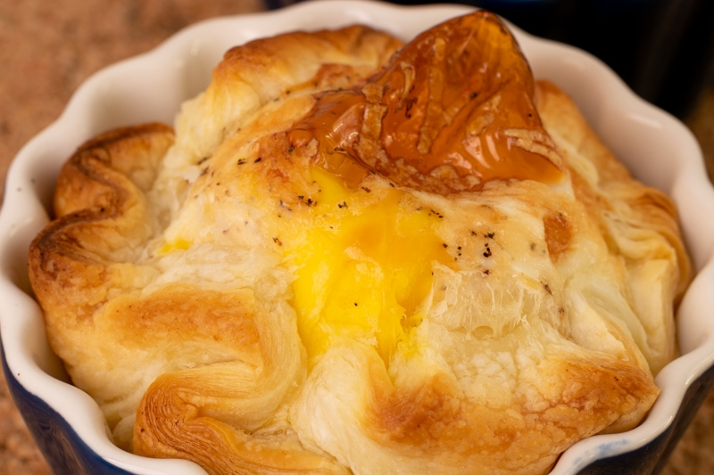 Puff pastry, egg, and parmesan