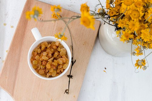 Golden raisins and flowers