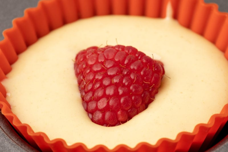 Raspberry muffin before baking