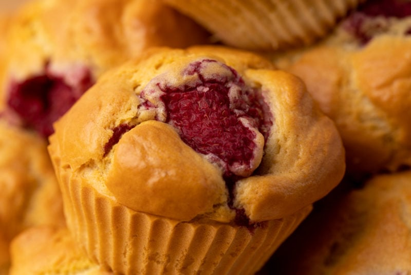 Raspberry muffins closeup