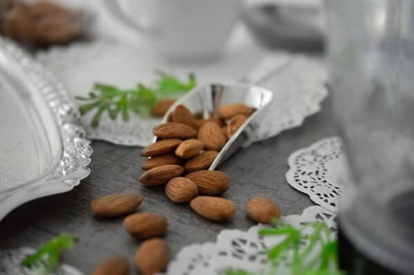 Raw almonds on a table