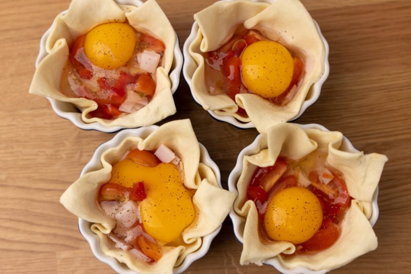 Before baking: raw eggs in puff pastry