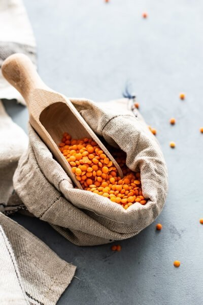 A bag of red lentils