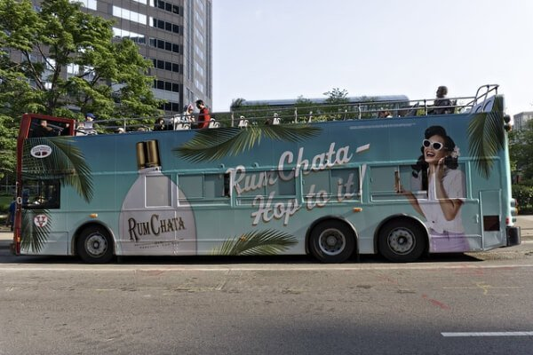 RumChata advertisement on a bus