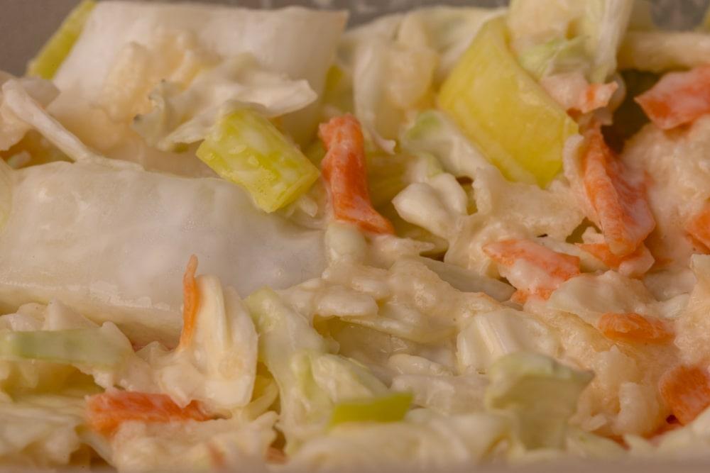 Salad with leek: closeup