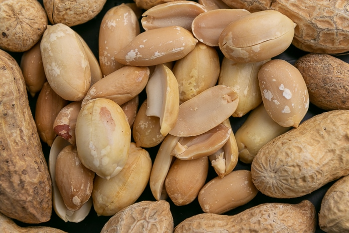 Shelled peanuts circled by unshelled