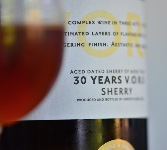 Label on a bottle of sherry