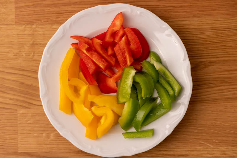 Sliced bell peppers on a plate