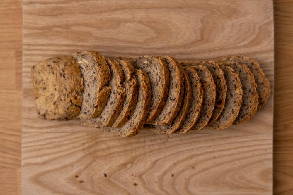 Sliced bread on a cutting board