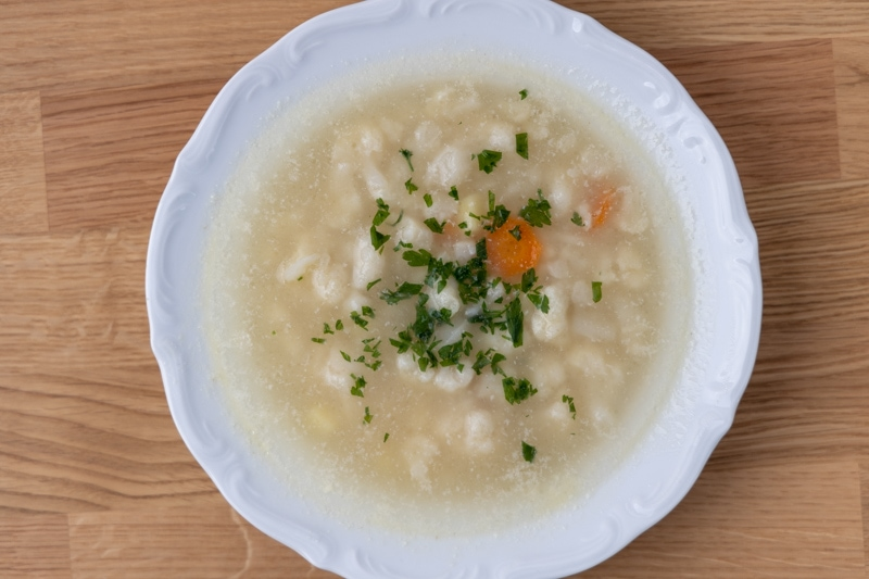Soup with thawed heavy cream