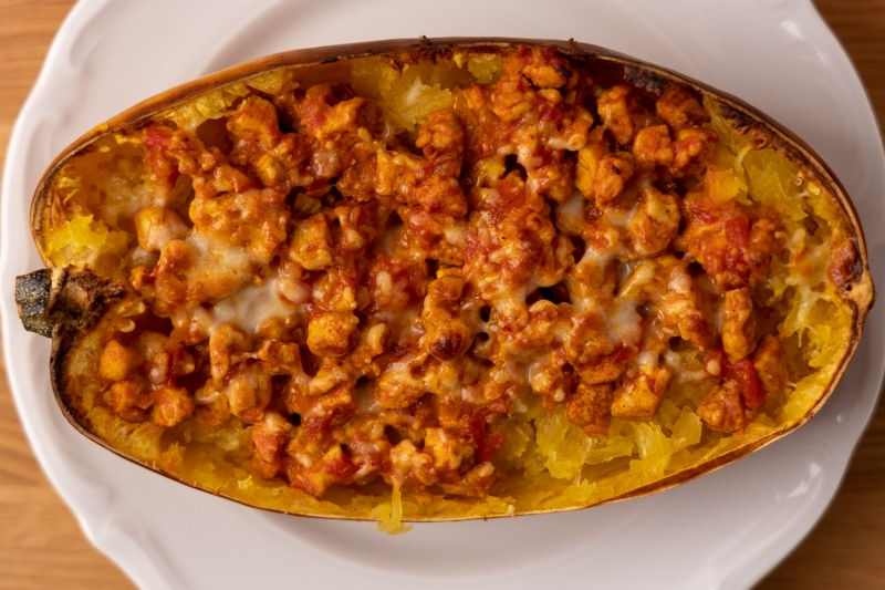 Spaghetti squash strands mixed with chicken and cheese